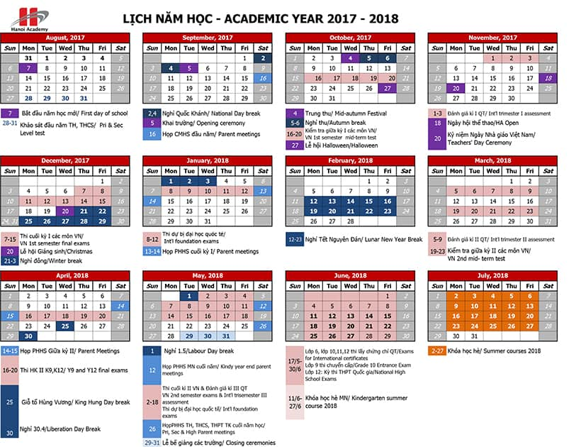 academic calendars 2017 2018