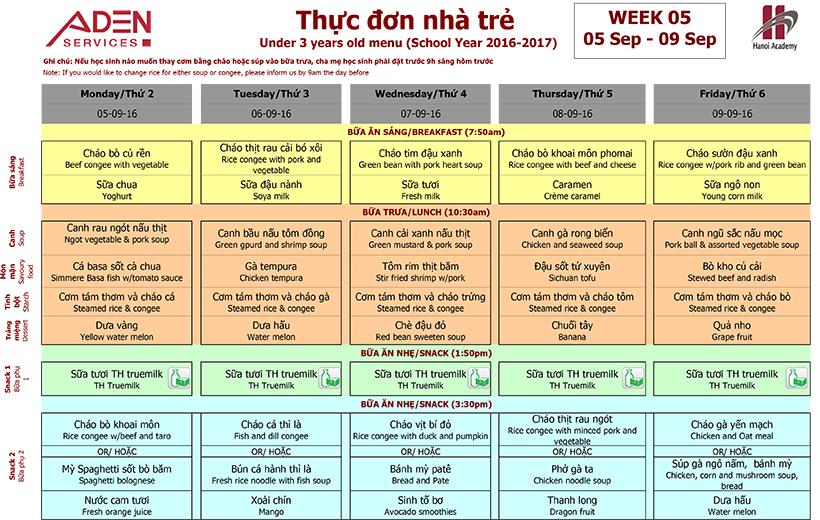 Menu-1 Week 05 menu (from 05/09 to 09/09)