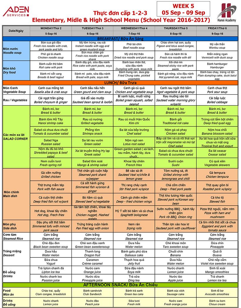 Menu-3 Week 05 menu (from 05/09 to 09/09)