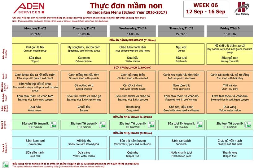 Menu -1 Week 06 menu (from 12/09 to 16/09)