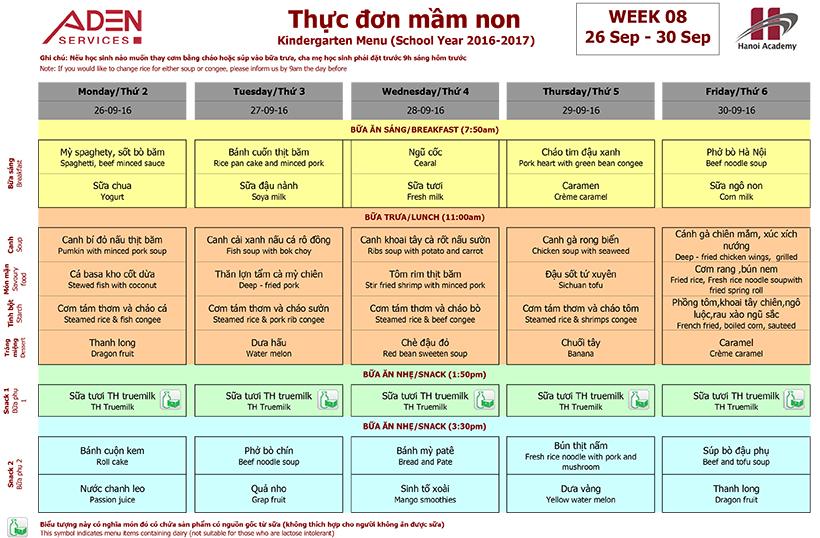 Menu -2 Week 08 menu (from 26/09 to 30/09)