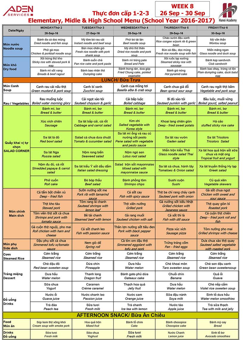 Menu -3 Week 08 menu (from 26/09 to 30/09)