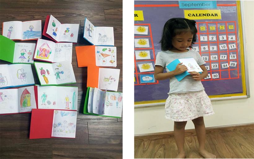 """mẫu giáo lớn Chuyên mục """" Bé làm sách về những loại thức ăn và hoạt động tốt cho sự phát triển của bé"""" của khối Mẫu giáo lớn"""