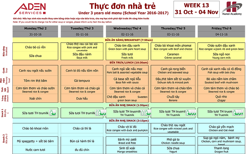 Menu -1 Week 13 menu (from 31/10 to 04/11)
