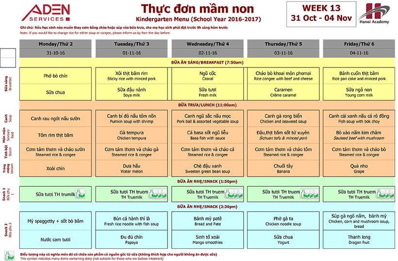 Menu -2 Week 13 menu (from 31/10 to 04/11)