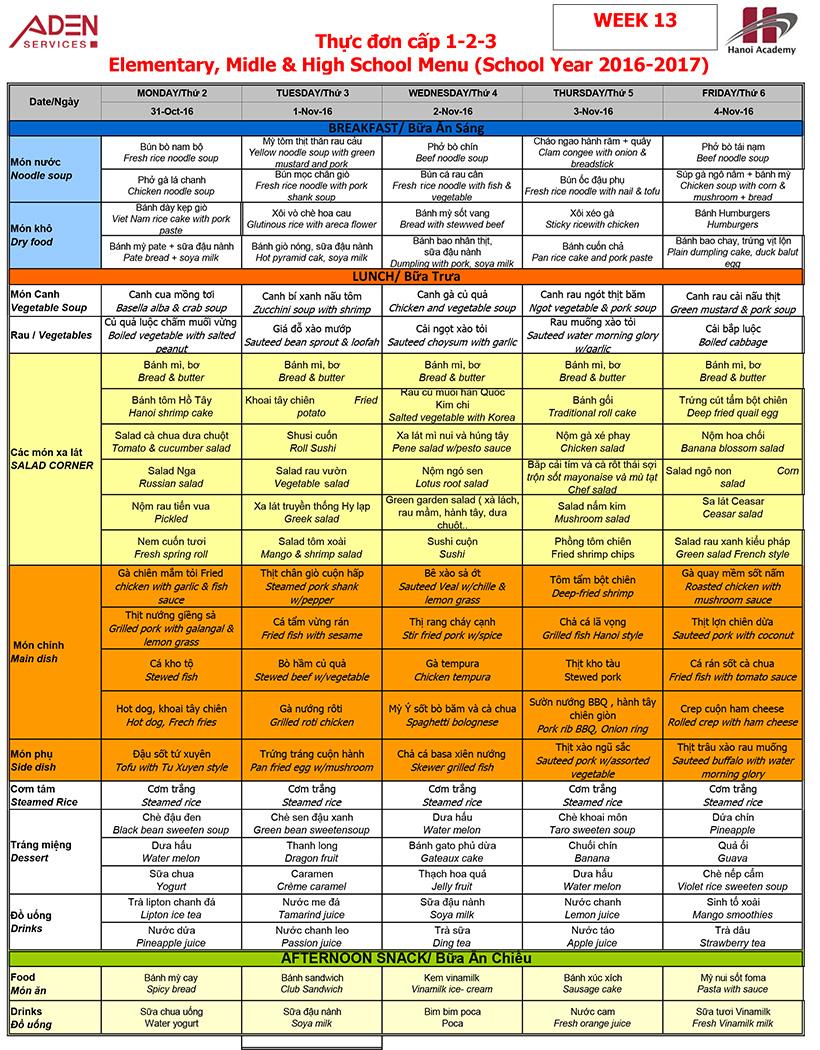 Menu -3 Week 13 menu (from 31/10 to 04/11)