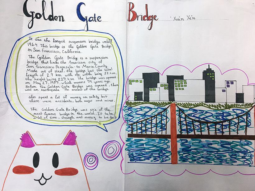 """Xuan Yen Học sinh 7A1 với dự án """"thầu"""" những cây cầu thế kỷ"""