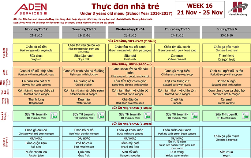 Menu -1 Week 16 menu (21/11 – 25/11)