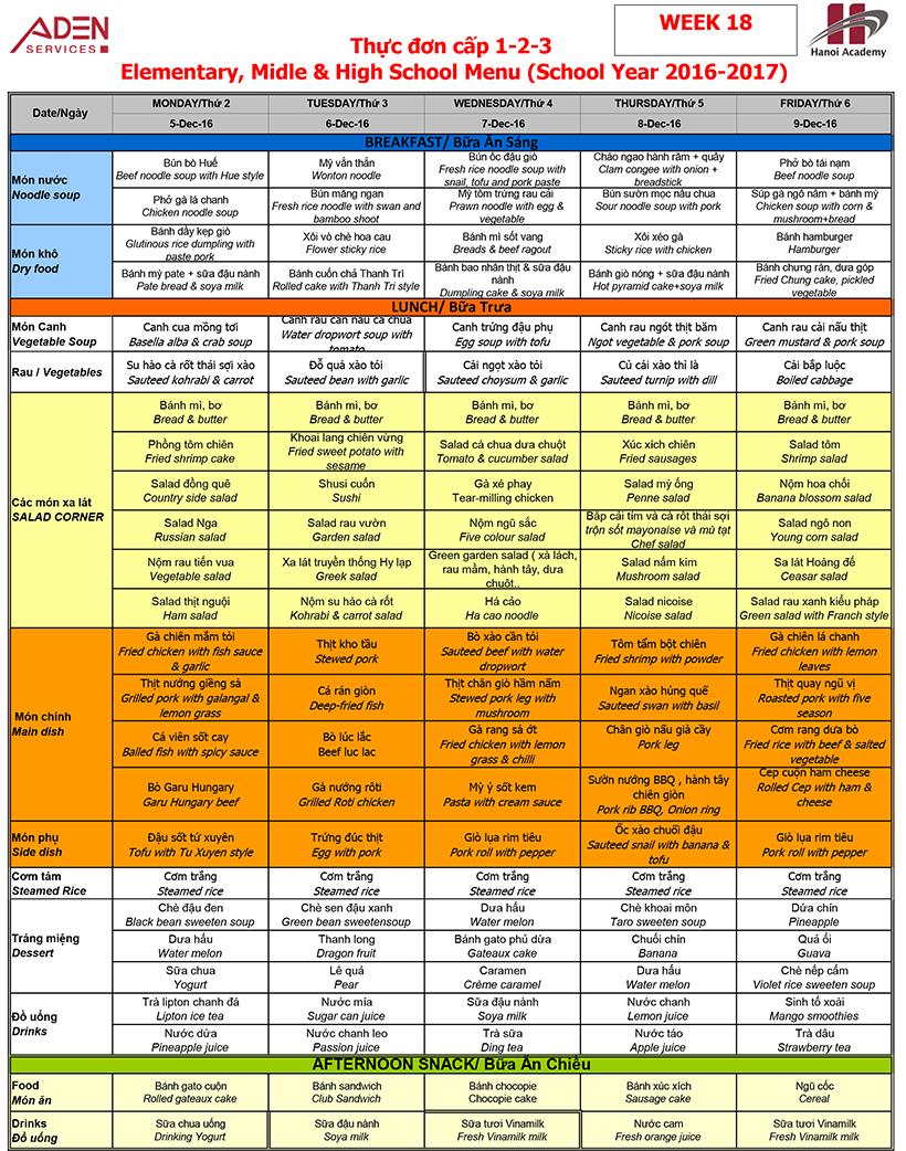 Menu Week 18 menu (05/12 – 09/12)