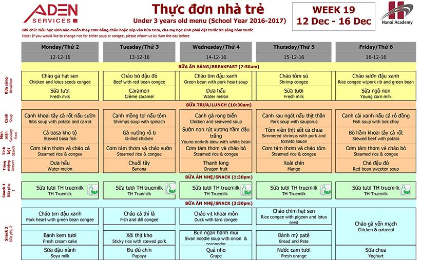 Menu 1 Week 19 menu (12/12 – 16/12)