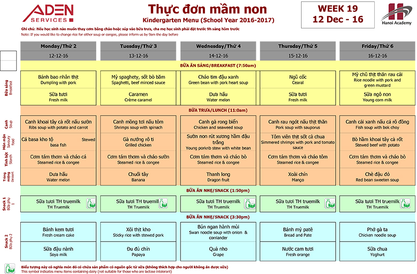 Menu 2 Week 19 menu (12/12 – 16/12)