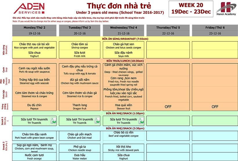 Menu-1 Week 20 menu (19/12 – 23/12)