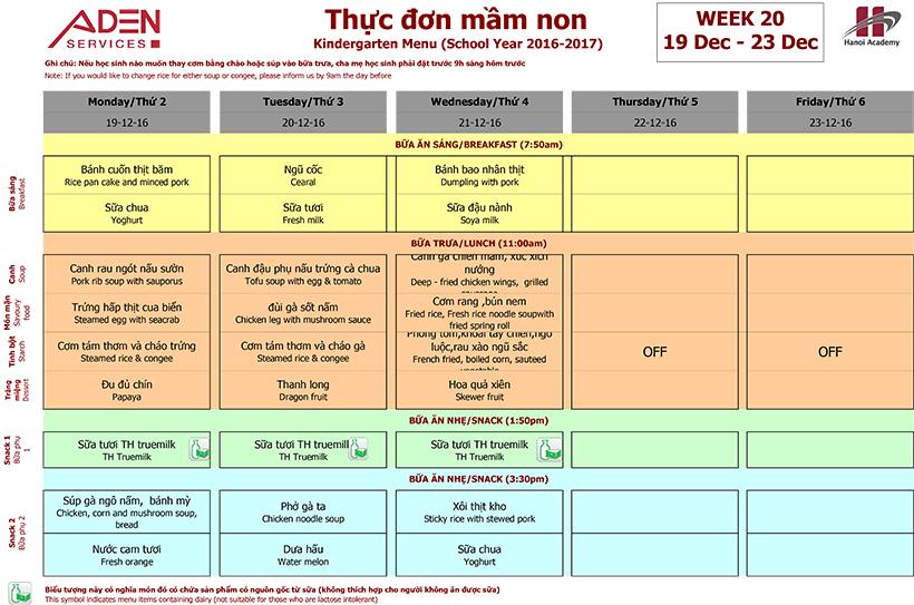 Menu-2 Week 20 menu (19/12 – 23/12)