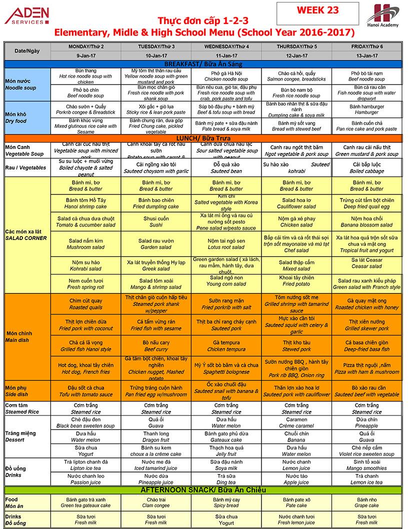 Menu Week 23 Menu (09/01 – 13/01)