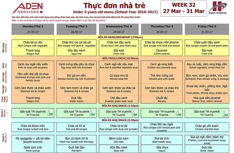 menu trường Hanoi Academy Week 32 menu (27/03 – 31/03)