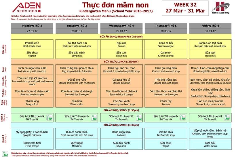Week 32 menu (27/03 – 31/03)