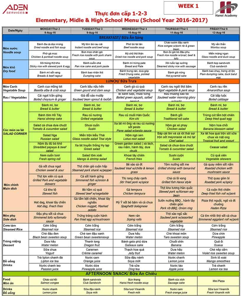 Menu-3 Week 01 menu (from 08/08 to 12/08)