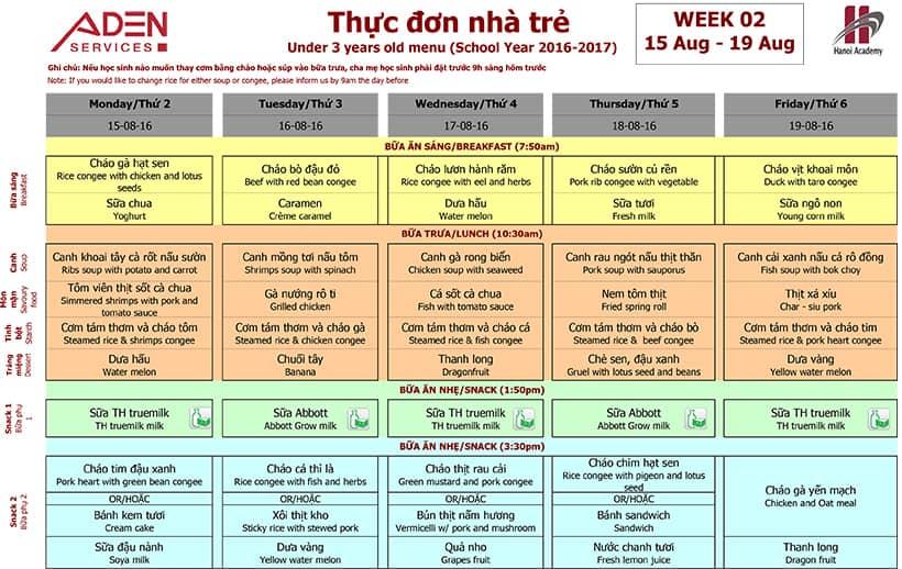 Menu-1 Week 02 menu (from 15/08 to 19/08)