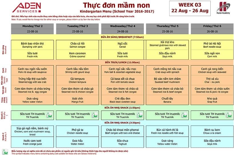 Menu-1 Week 03 menu (from 22/08 to 26/08)
