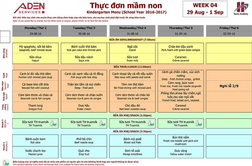 Menu-2 Week 04 menu (from 29/08 to 02/09)