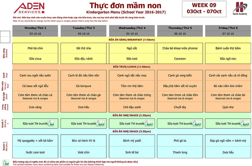 Week 09-2 Week 09 menu (from 03/10 to 07/10)