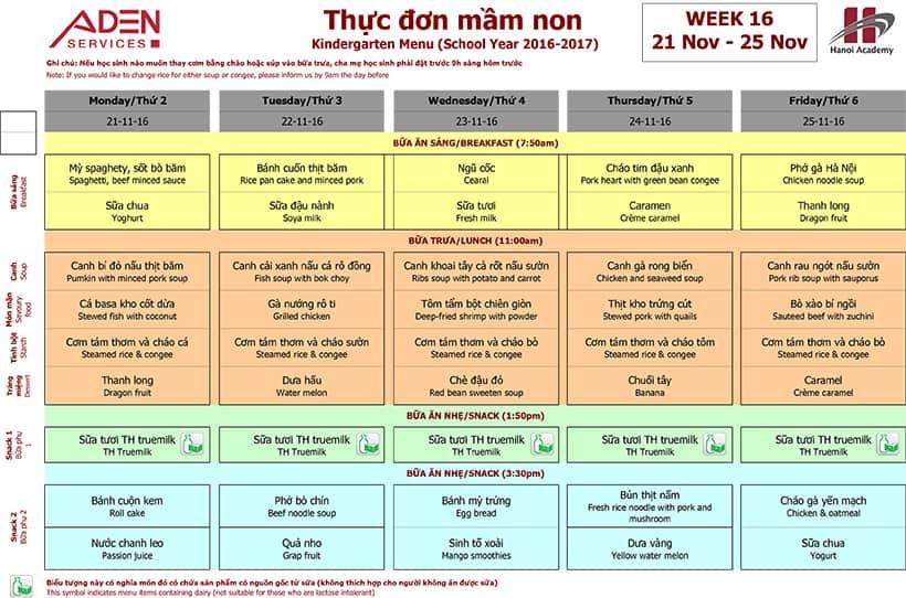 Week 16-2 Week 16 menu (21/11 – 25/11)