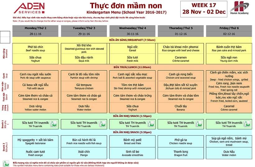 Week 17-2 Week 17 menu (28/11 – 02/12)