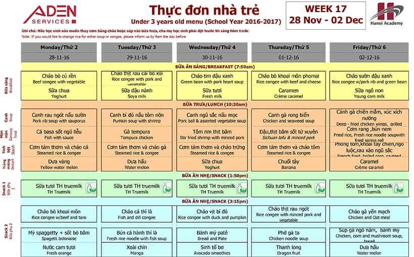 Week 17-1 Week 17 menu (28/11 – 02/12)
