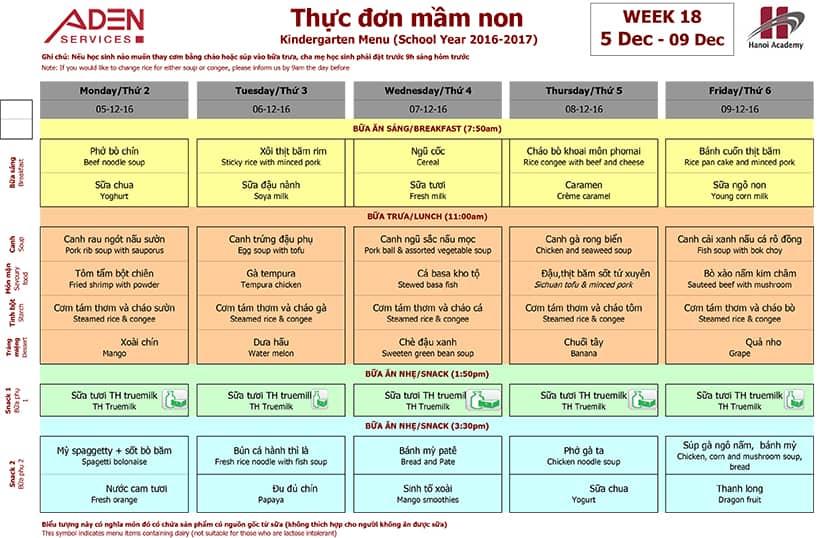 Week 18-2 Week 18 menu (05/12 – 09/12)