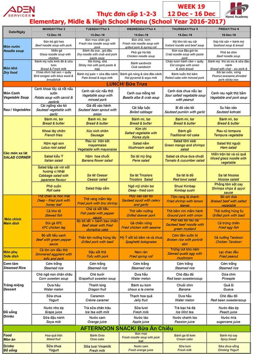 Week 19-3 Week 19 menu (12/12 – 16/12)