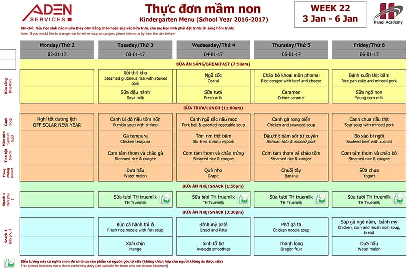 Week 22-2 Week 22 Menu (05/01 – 06/01)