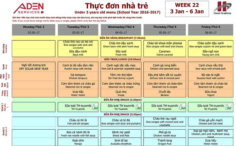 Week 22-1 Week 22 Menu (05/01 – 06/01)
