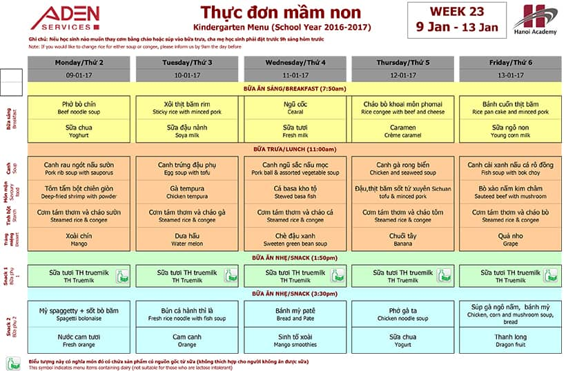 Week 23-2 Week 23 Menu (09/01 – 13/01)
