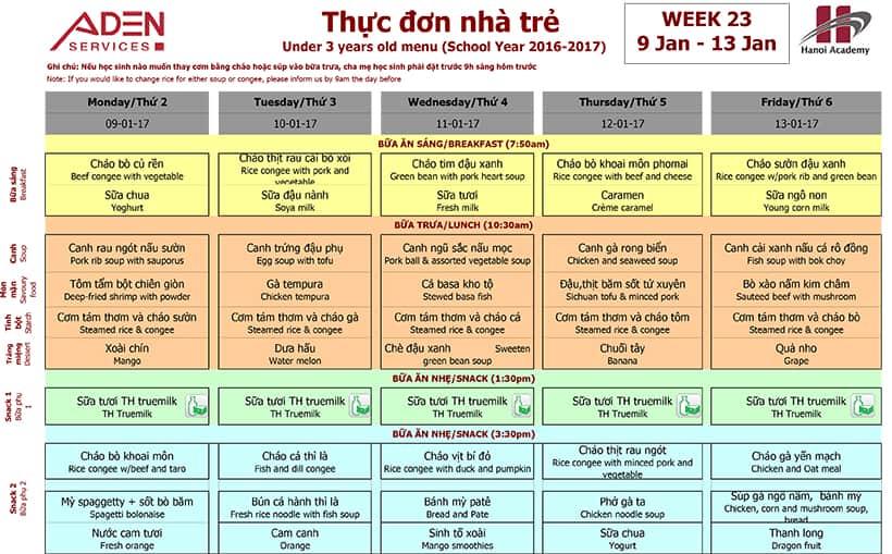 Week 23-1 Week 23 Menu (09/01 – 13/01)