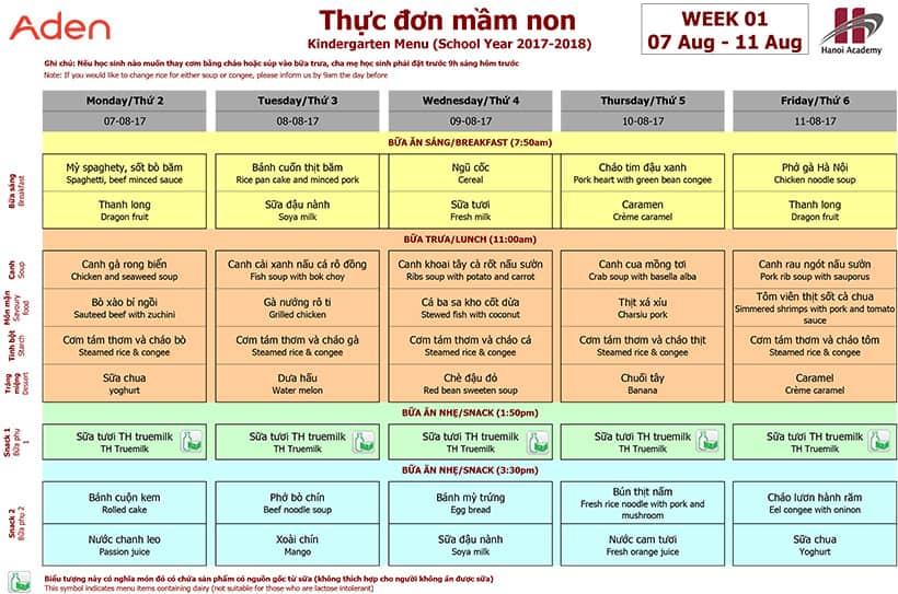 Week 01 menu (07/08 – 11/08)