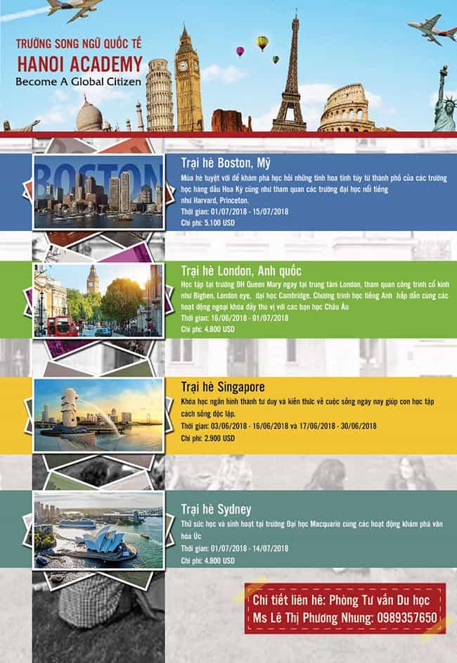 Các chương trình du học hè của Hanoi Academy năm 2018 Các chương trình du học hè của Hanoi Academy năm 2018