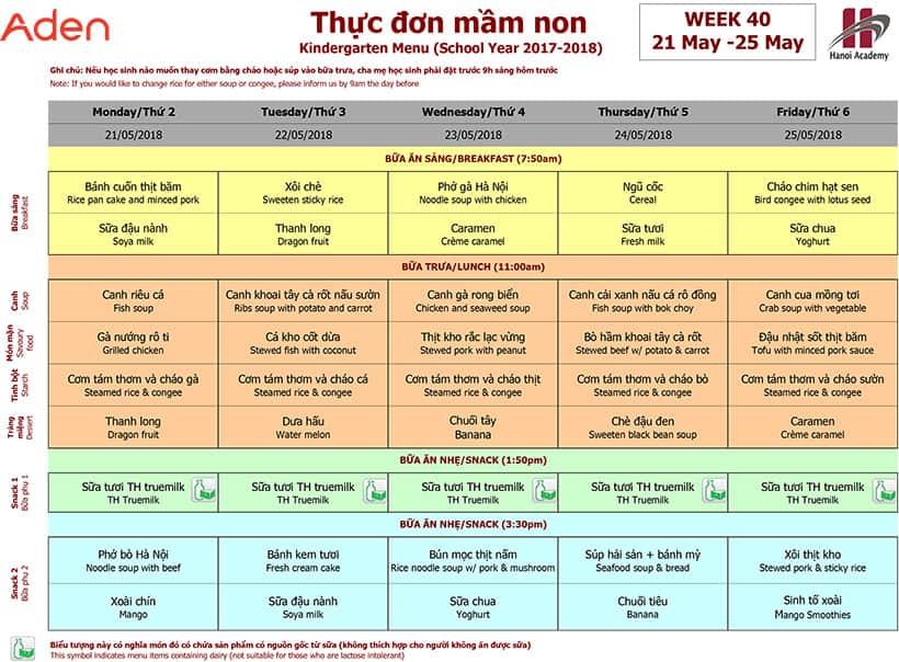 Thực đơn mầm non trường Hanoi Academy Thực đơn tuần 40 (21/05 – 25/05)