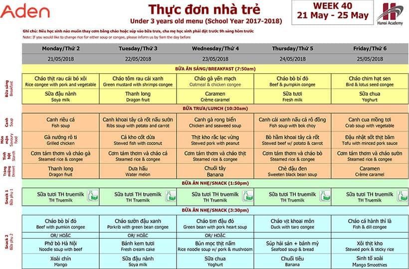 Thực đơn nhà trẻ trường Hanoi Academy Thực đơn tuần 40 (21/05 – 25/05)