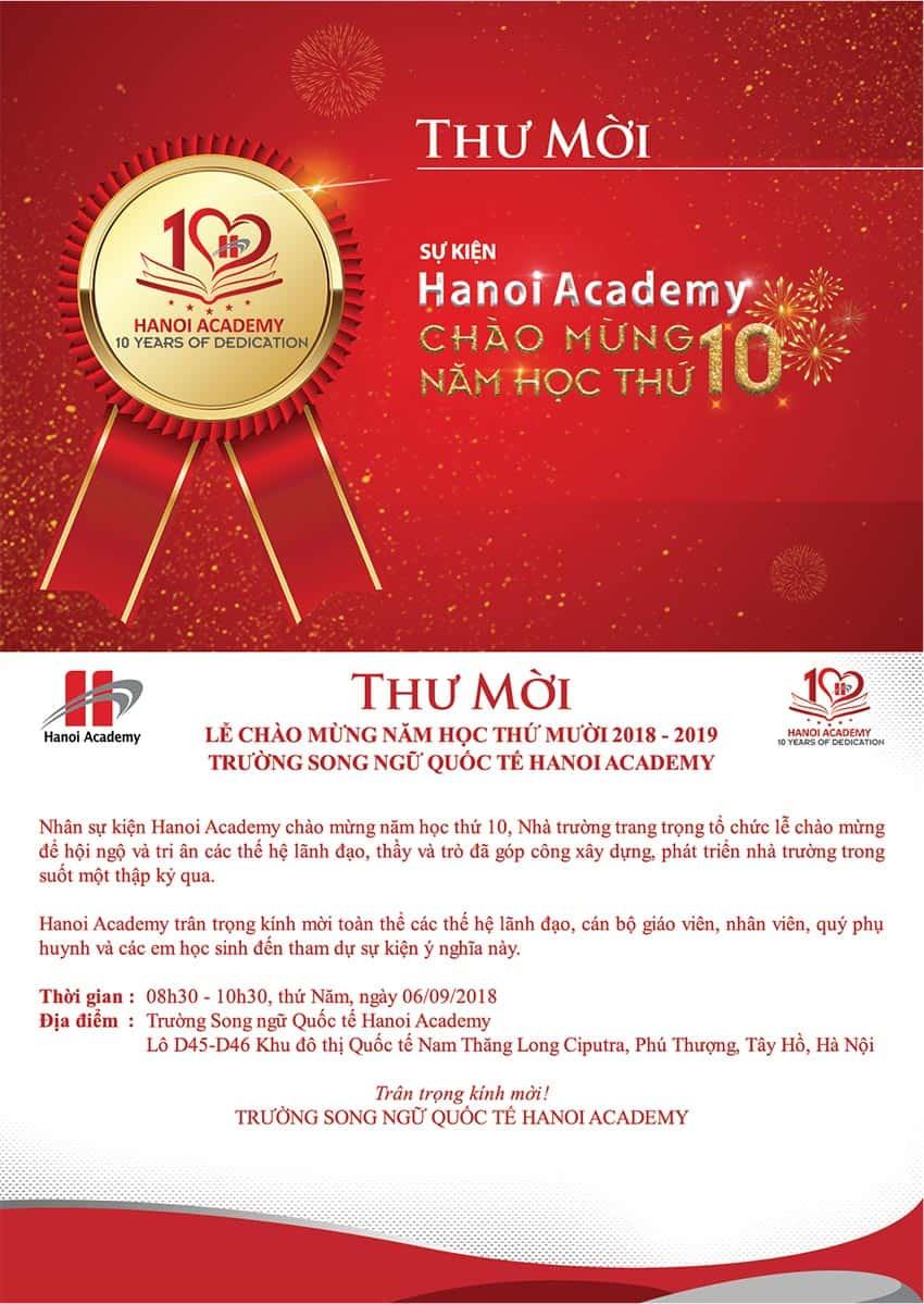 "Thư mời sự kiện ""Hanoi Academy chào mừng năm học thứ 10"" Thư mời sự kiện ""Hanoi Academy chào mừng năm học thứ 10"""