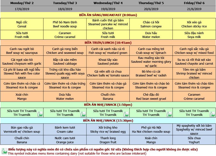 Thực đơn mầm non trường Hanoi Academy Thực đơn hè 2019 – Tuần 02 (17/6 – 21/6)