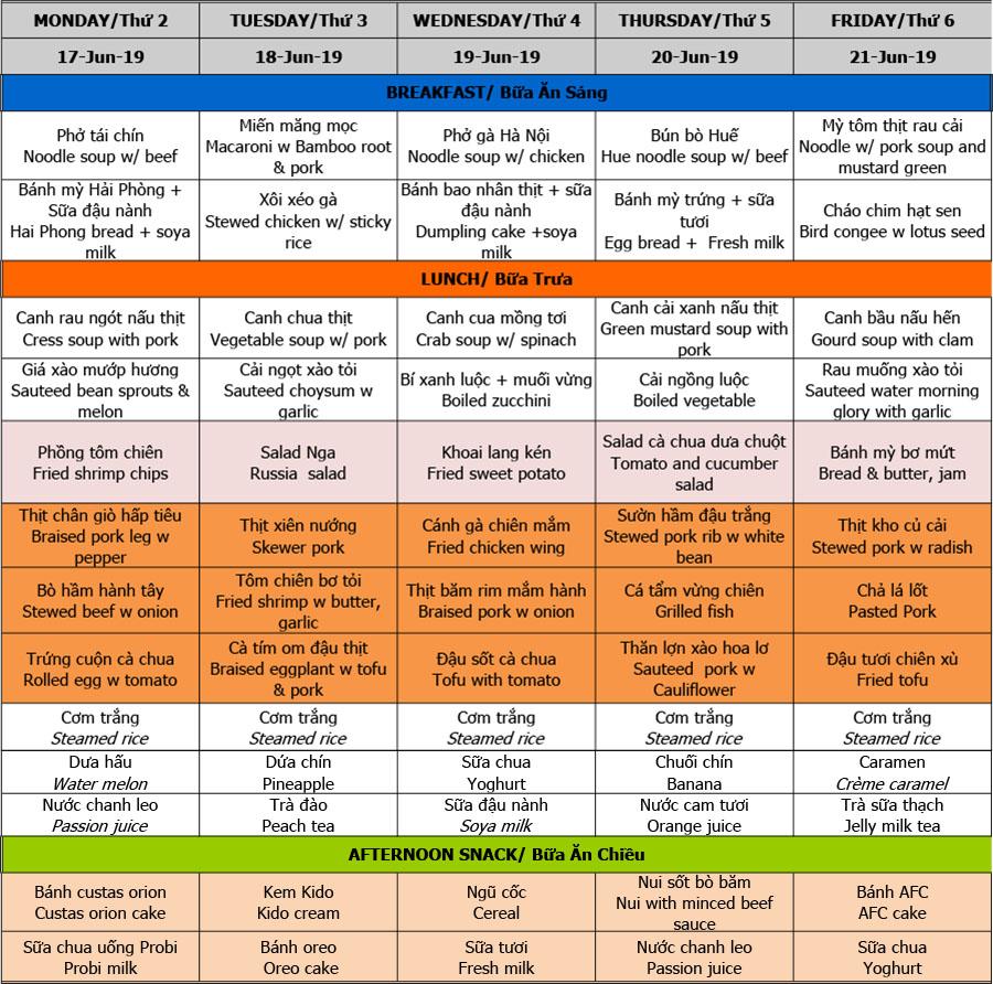 Thực đơn hè 2019 – Tuần 02 (17/6 – 21/6)