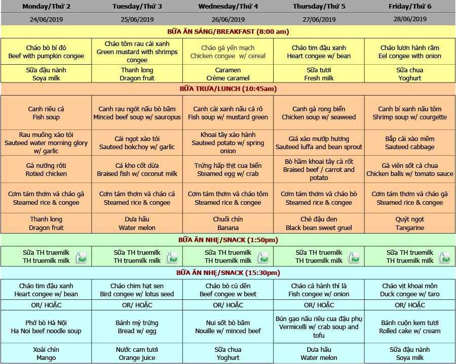 Thực đơn hè nhà trẻ trường Hanoi Academy Thực đơn hè 2019 – Tuần 03 (24/6 – 28/6)