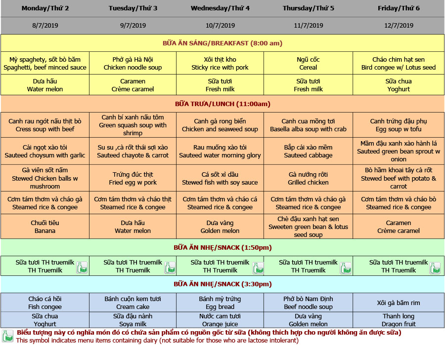 Thực đơn mầm non trường Hanoi Academy Thực đơn hè 2019 – Tuần 05 (08/7 – 12/7)