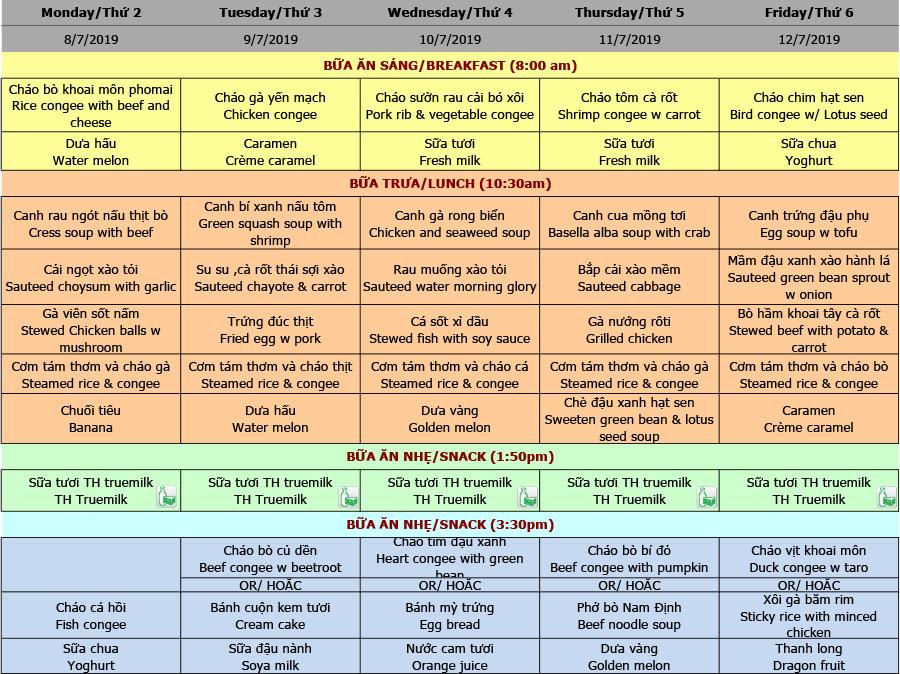 Thực đơn nhà trẻ trường Hanoi Academy Thực đơn hè 2019 – Tuần 05 (08/7 – 12/7)