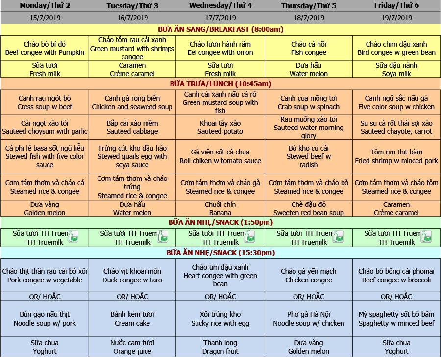 Thực đơn nhà trẻ trường Hanoi Academy Thực đơn hè 2019 – Tuần 06 (15/7 – 19/7)