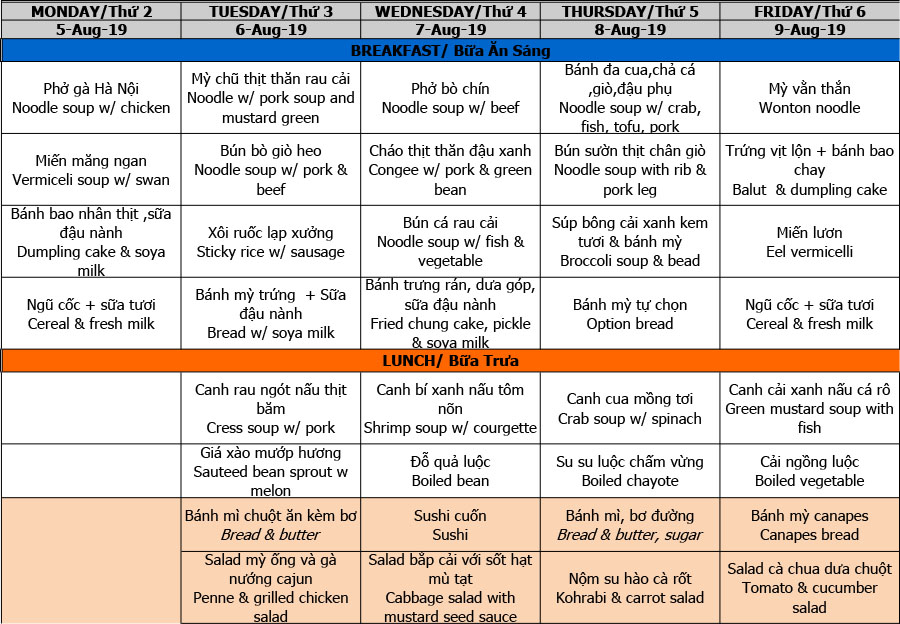 Thực đơn tuần 01 (05/08 – 09/08)