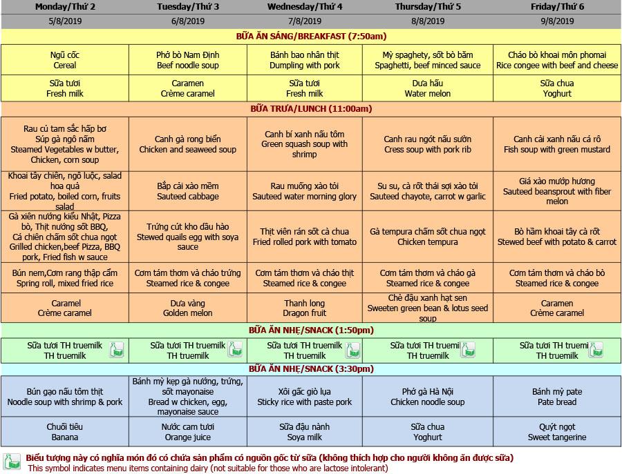 Thực đơn mầm non trường Hanoi Academy Thực đơn tuần 01 (05/08 – 09/08)