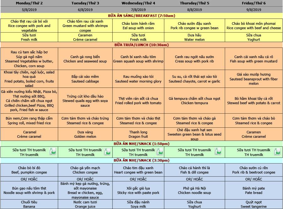 Thực đơn nhà trẻ trường Hanoi Academy Thực đơn tuần 01 (05/08 – 09/08)