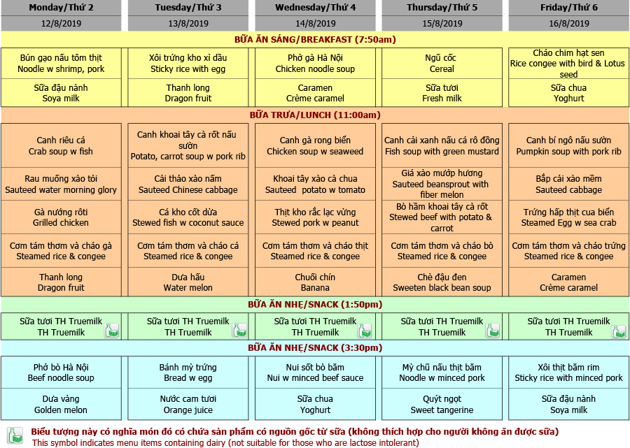 Thực đơn mầm non trường Hanoi Academy Thực đơn tuần 02 (12/08 – 16/08)