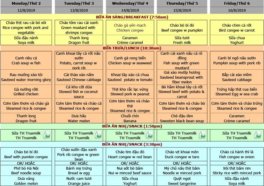 Thực đơn nhà trẻ trường Hanoi Academy Thực đơn tuần 02 (12/08 – 16/08)